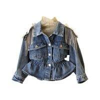 Girls heavy work rhinestone tassel waist denim jacket Kids Spring Autumn Coat baby girl coats baby girl jacket