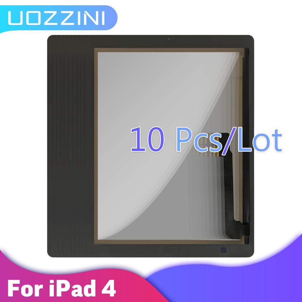 Дигитайзер сенсорного экрана для iPad 4, 10 шт., 100% Протестировано, белый с/без кнопки, переднее стекло, дисплей, сенсорная панель A1458 A1459 A1460