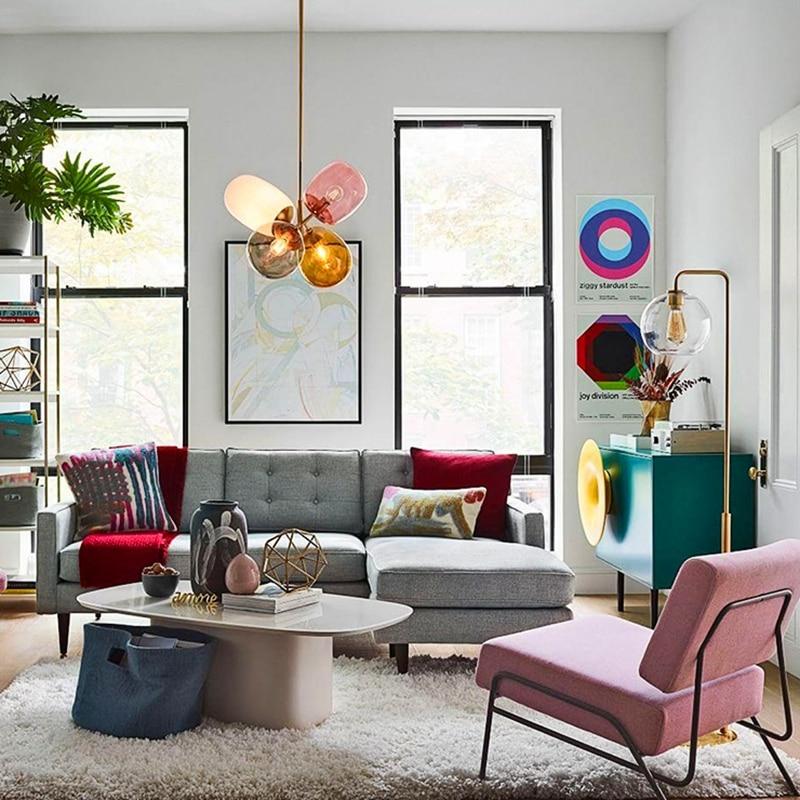 Купить современные модные цветные стеклянные светодиодные подвесные