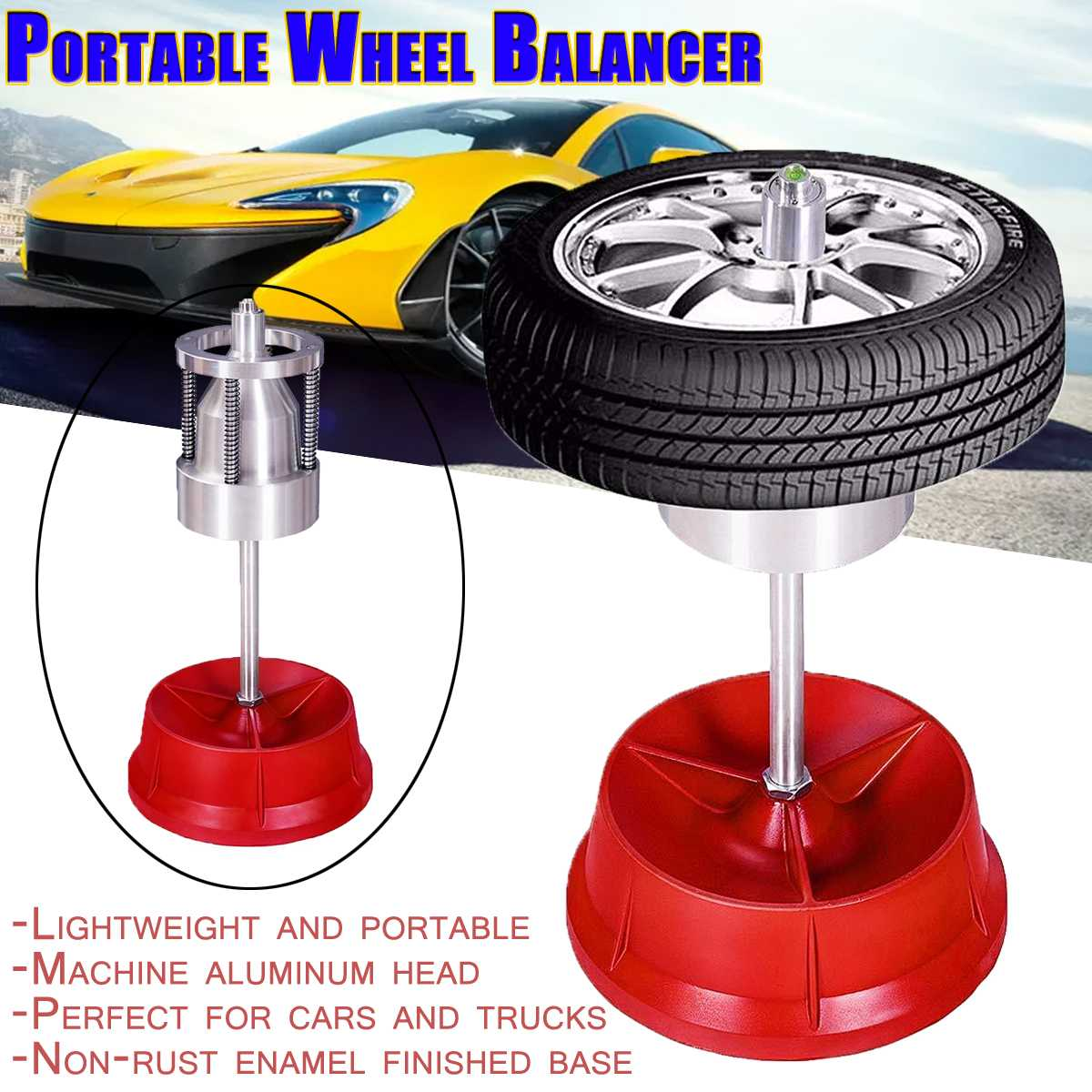 Car Truck Portable Hubs Wheel Tire Balancer Bubble Level Heavy Duty Rim Car Tire Wheel Balancer Auto Tyre Balancing Machine