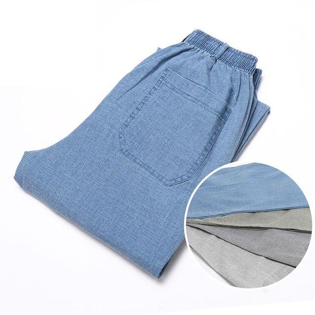 Men Trousers Casual Pants Men Linen Pants Summer Thin Elastic waist Business Office 5XL Plus size 5