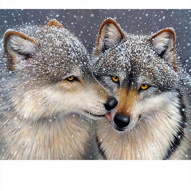 Pieno quadrato/rotondo Trapano 5D FAI DA TE diamante pittura Animale lupo 3D diamante ricamo mosaico di strass punto croce decorazioni Per La Casa m128