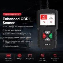 Ya201 obd2 motor scanner YA 201 dc 12v leitor de código atualização via usb obd ii ferramenta diagnóstico do carro bateria teste pk kw680 cr319