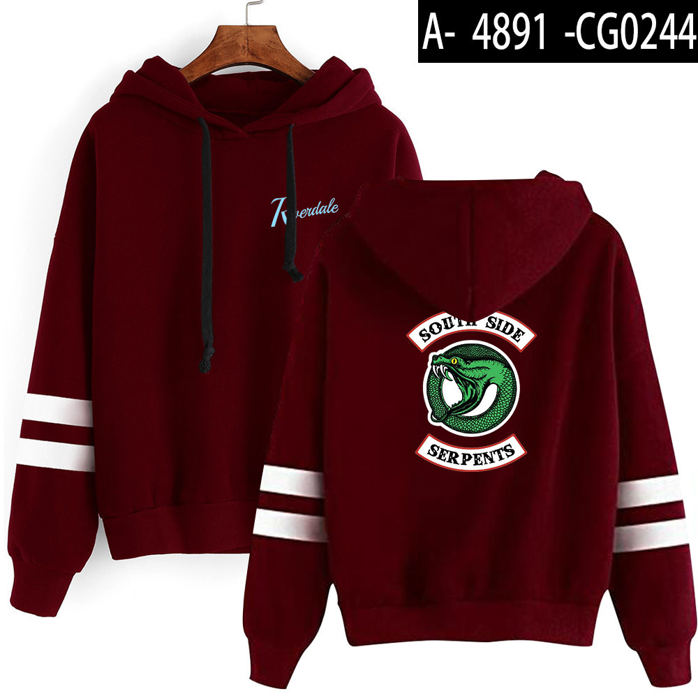 Riverdale Southside Serpents Hoodies Sweatshirts MenS Women South Side Serpents Hoodie Long Sleeve Striped Pullover Top Oversize 24
