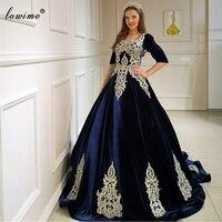 Navy Blue Plus Size Evening Dresses Long Elegant Appliques Celebrity Dresses Evening Wear Turkish Couture вечернее платье Robes