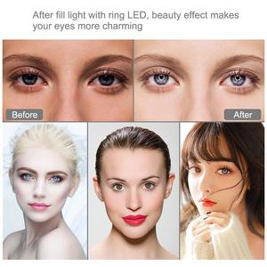 "Image 5 - 1.1M Aluminium Tripod + 6.2"" 16 cm LED Ring Light for Makeup Vlog Video Live Stream + Dual Mobile Phone Holder for Redmi 7 iphon"