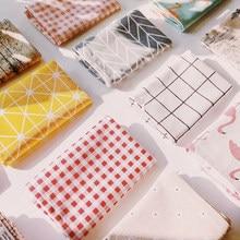 Manteles Individuales de algodón a cuadros/florales, manteles de mesa a la moda de estilo japonés, servilletas simples, vajilla con diseño, herramienta de cocina, 2020, 1 Uds.
