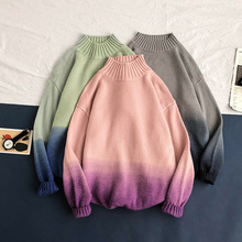 Winter Stand Collar Sweater Men Warm Fashion Tie Dyed Color Casual Knit Pullover Hip Hop Loose Male Clothes M-3XL