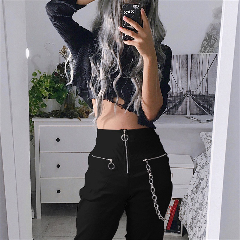 Gothic harajuku zipper streetwear women casual harem pants with chain solid black pant cool fashion hip