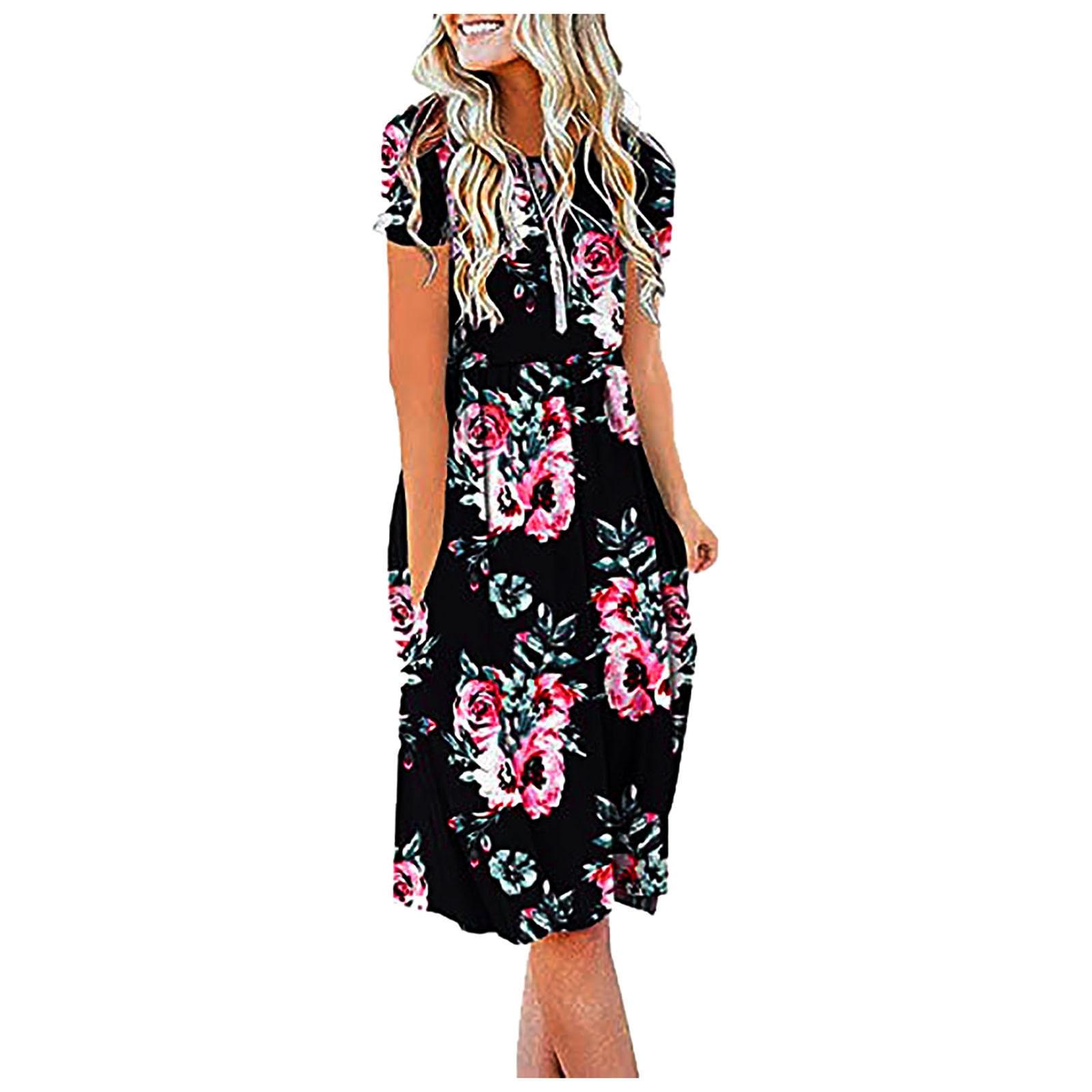 Women Summer Casual Short Sleeve Dresses Empire Waist Dress with Pockets 4