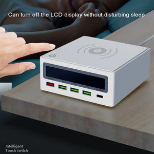 Image 2 - 5 포트 QC3.0 USB 유형 C PD 65W 전원 어댑터 Qi 무선 충전기 핸드폰 빠른 충전기 노트북 휴대 전화 태블릿