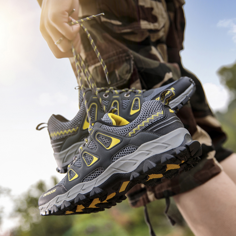 Men's Outdoor Hiking Shoes Spring Summer Air Mesh Breathable Waterproof Anti-skid Climbing Shoes Man Trekking Trail Sneakers