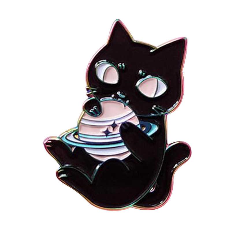 天文学宇宙宇宙猫エナメルブローチ