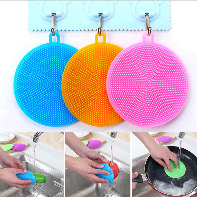 Multifunction Silicone Sponge Bowl Cleaning Brush Silicone Scouring Pad Silicone Dish Sponge Kitchen Pot Cleaner Washing Tool|Cleaning Brushes| |  - title=