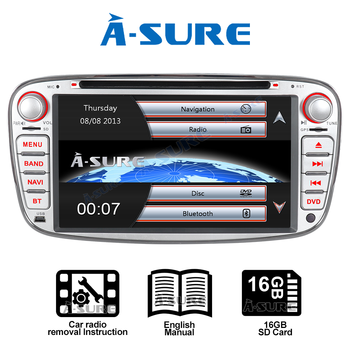 A-Sure Car Multimedia Player 7 INCH Auto Radio GPS DVD Navigation For Ford Mondeo Focus Galaxy S-Max C-Max Kuga DAB+ BT RDS image