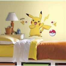 Pikachu adesivos de parede dos desenhos animados pokemon pvc adesivos crianças quarto cama sala estar decoração para casa arte decalques