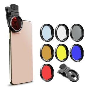 Image 2 - Apexel 7in1 Full Kính Lọc Bộ Full Đỏ Vàng Màu ND32 CPL Ngôi Sao Bộ Lọc Ống Kính Camera Với 37 Mm Kẹp dành Cho Điện Thoại Thông Minh 37UV F