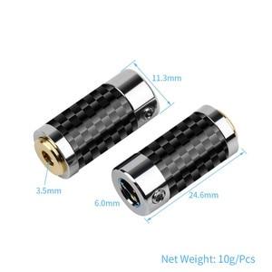 Image 3 - 2 uds. De conector de Audio Mini Jack de 2,5mm y 3,5mm, adaptador de Metal para asiento femenino, conector equilibrado de cobre y fibra de carbono dorada para auriculares