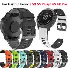22 26MM Phát Hành Nhanh Dây Đeo Đồng Hồ cho Garmin Fenix 6 6S 6X Pro 20mm Silicone Easyfit Cổ Tay cho Fenix 5 5S 5X Plus Dây đồng hồ
