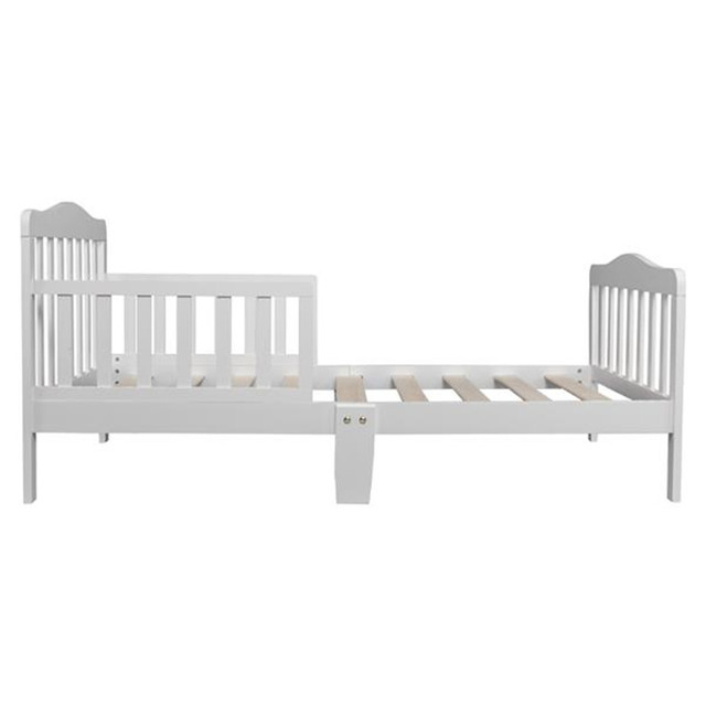 Wooden Baby Toddler Bed Children Bedroom Furniture with Safety Guardrails White 3