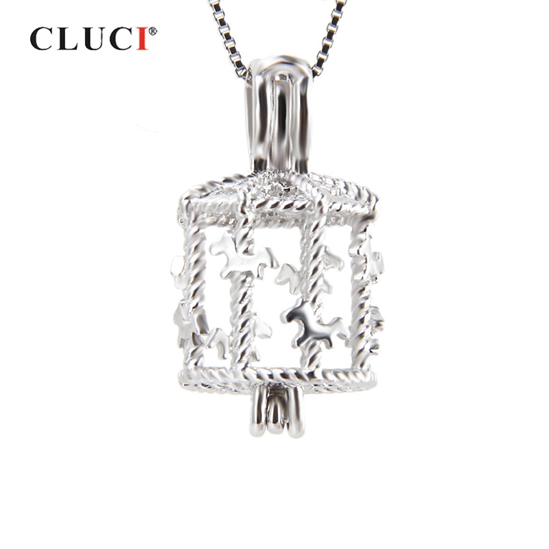 CLUCI Silver 925 Cute Carousel Cage Pearl Pendant 925 Sterling Silver Jewelry Merry-go-round Charms Gift For Women Pearl Locket