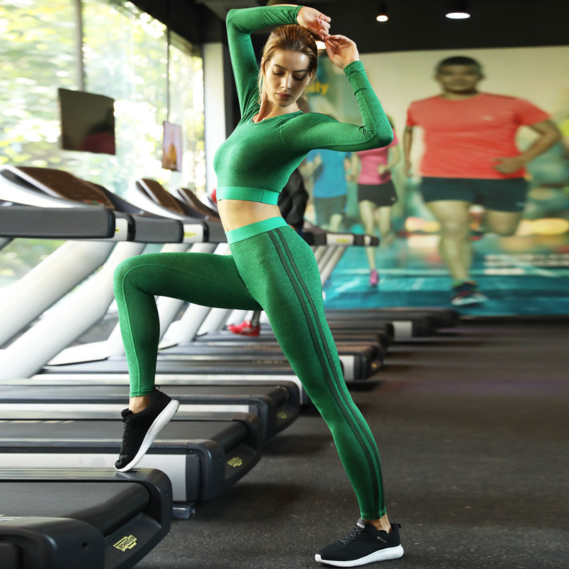 Autumn Winter Women Sweatsuit Sportswear Elastic Leggings Long Sleeve Sweat Shirt Tank Top Jogger Running Fitness Outfit Set in Yoga Sets from Sports Entertainment