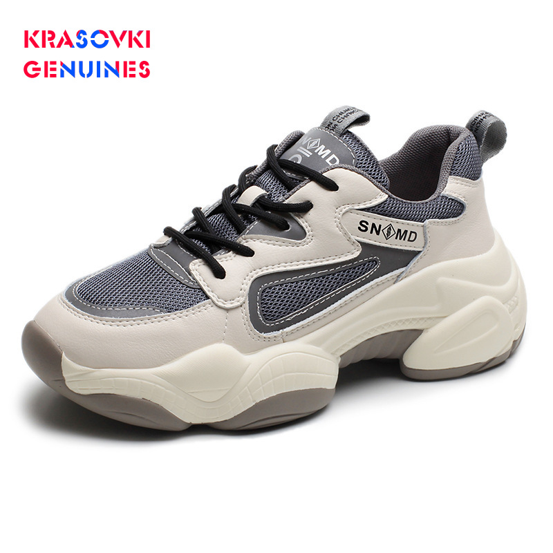 Krasovki Genuines Sneakers Women Thick Bottom Fashion Dropshipping Autumn Breathable Round Toe Sewing Mesh Leisure Women Shoes