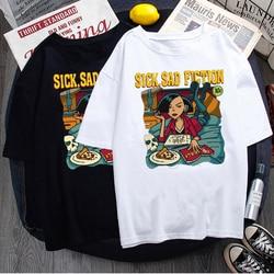Impressão de algodão de verão vintage manga curta casual kpop camisetas topos solto dropshipping harajuku ulzzang punk oversize camiseta