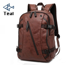 External USB Charge High Quality Practical PU Leather Mens Backpack Famous Brand School Travel Vintage Men Business