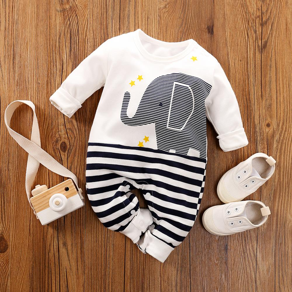Infant Baby Boys Girls Clothes Cute Elephant Striped Print Tops+Pants Set Casual
