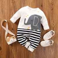 Patpat primavera e outono casual algodão roupas recém-nascidos rastejando terno bonito elefante padrão macacão para o bebê menino e menina do bebê