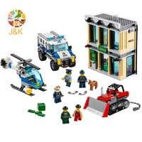 60140 591pcs city police Series Bulldozer Break-in Bank Building Blocks Bricks Enlighten Toys for Children 10659 Gift