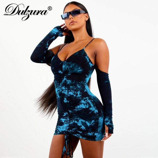 Dulzura cravate teinture robe cordon moulante à manches longues gants épaules nues streetwear fête 2019 automne hiver clubwear vêtements