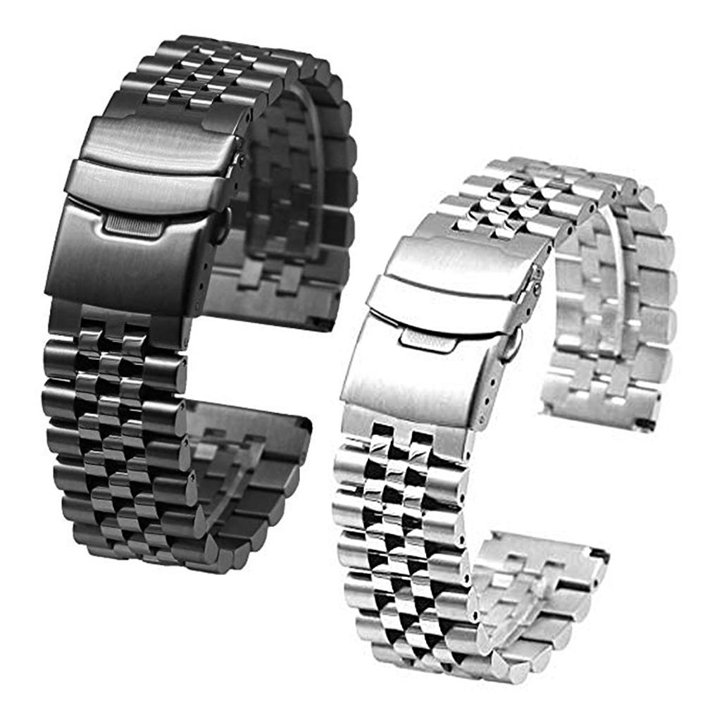 Smart Watch Adjustable Stainless Steel Solid Double Clasp Bead Watch Strap Wristband Smart Watch Link Bracelet Black Replacement