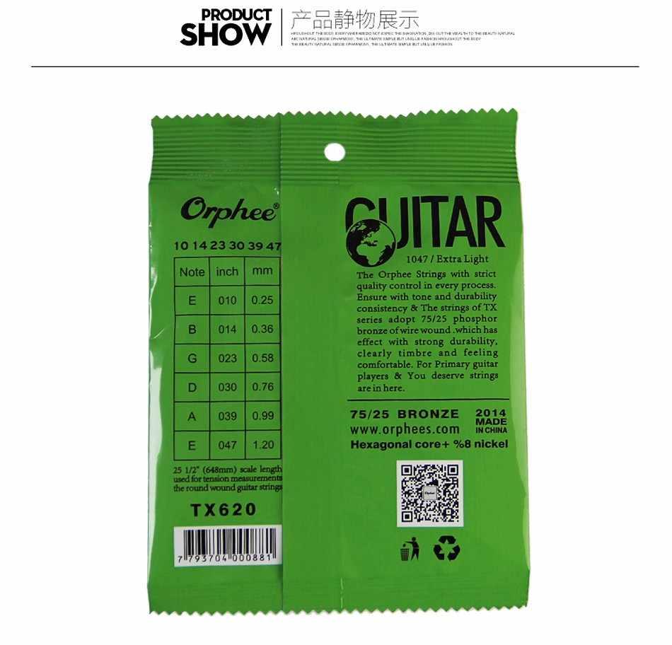 Orphee TX620 (010-047) cordes de guitare Folk Extra légères ensemble de cordes de guitare acoustique 6 pièces/ensemble accessoires de guitare