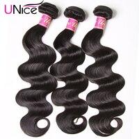 Волосы UNICE бразильские волнистые волосы, для придания объема, вплетаемые пряди натуральные Цвет 100% человеческие сотканые волосы 1/3/4 шт. 8-30