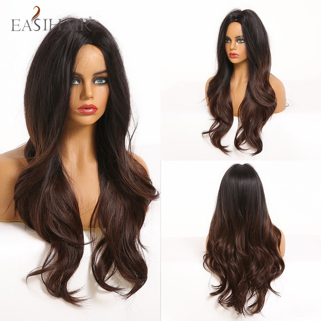 EASIHAIR Long Ombre Blonde Wigs for Middle Part Heat Resistant Synthetic Wigs Afro Women Wavy Cosplay Natural Hair Wigs