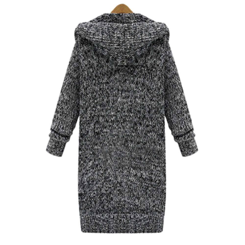 롱 가디건 숙녀 패션 롱 니트 스웨터 여성 대형 코트 캐주얼 블랙 자켓 2020 가을 겨울 의류 스웨터