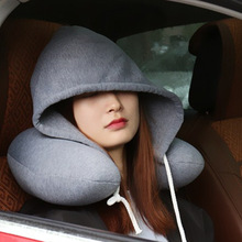 Nap Neck Pillow Cotton Particle Pillow Soft Hooded U-pillow Textile Home office Airplane Car Travel Cushion Pillow Accessories iskybob 4 color u shaped neck pillow cushion comfort home travel car neck sleep support pain relief soft travel accessories