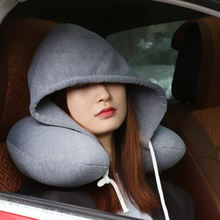 Подушка для шеи из хлопка мягкая u образная подушка с капюшоном