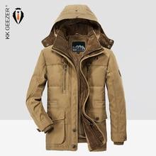 Kış Ceket Erkekler 5XL 6XL Büyük Boy 2019 Sıcak Parka Markalar Hood Ağır Pamuk Erkek Rusya Kar Ceket Uzun Mavi Rüzgarlık Kalınlaştırır Askeri Palto Yüksek Kalite Polar Pamuk Yastıklı