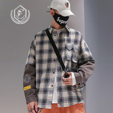 Männer Mode Lose Plaid Drucken Casual Patchwork Hip Hop Shirts(China)