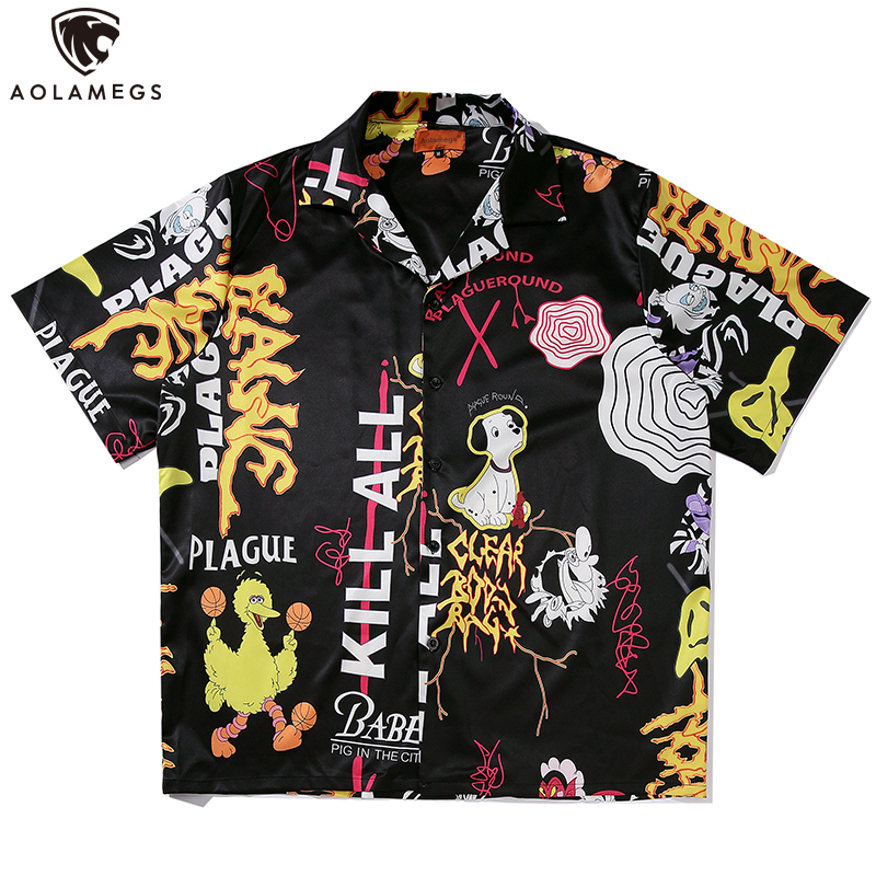 Aolamegs Shirts Men Cute Cartoon Print Shirts Short Sleeve Retro Bermuda Hip Hop Baggy Oversize Thin Summer Couple Streetwear