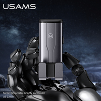 USAMS Alloy Gravity Invisible Car Phone Holder For iPhone 12 Pro Max Samsuang Xiaomi Huawei Mobile Phone GPS Stand Car Air Vent Bracket Car Phone Holder
