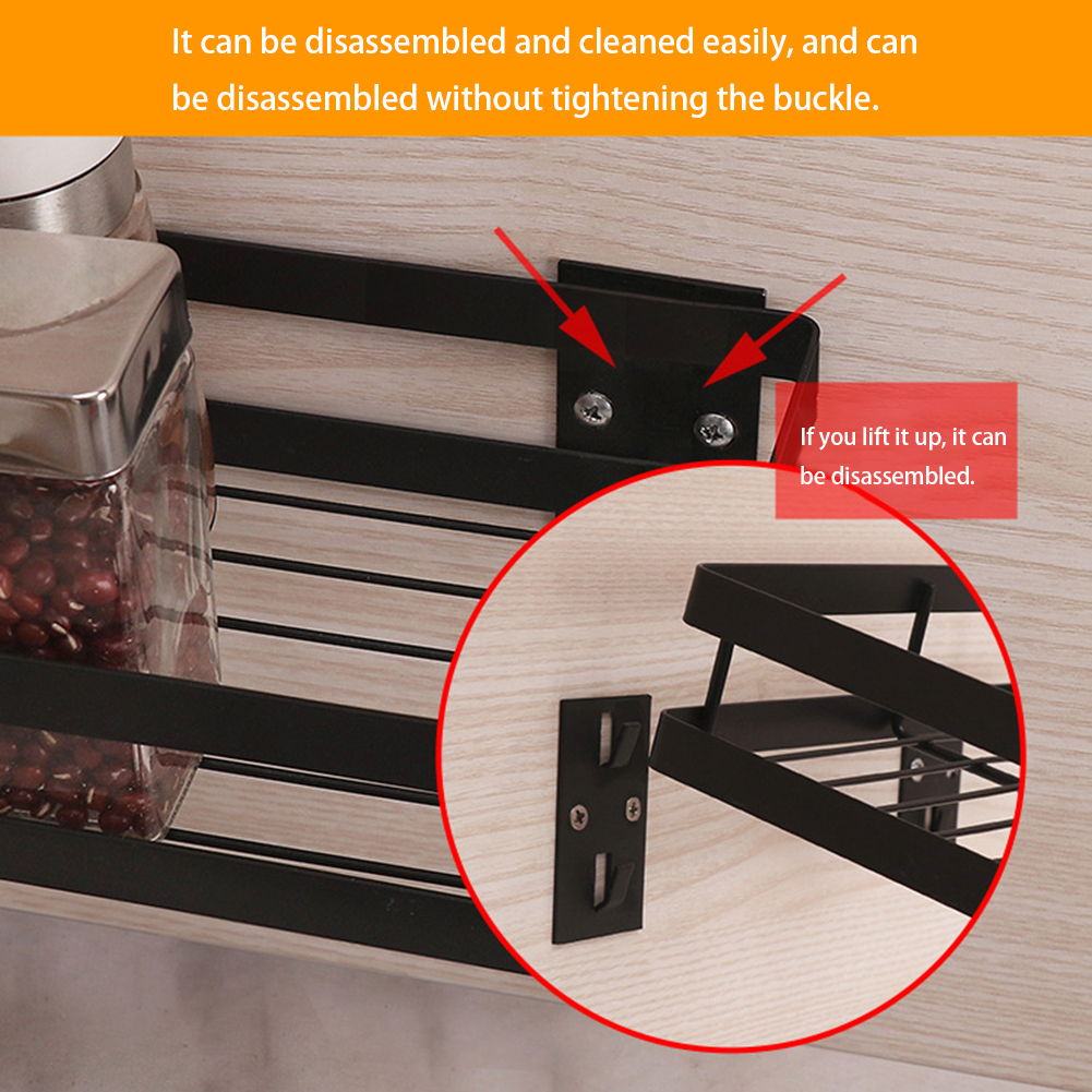 Wall Mounted Kitchen Organizer And Wall Storage Shelf For Spice Jars With Raised Fence 3