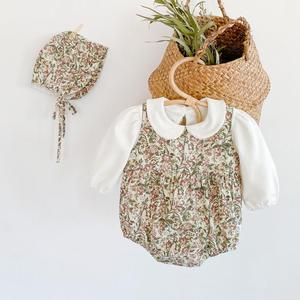 Baby Autumn Clothes Newborn Infant Girl Floral Printed Bodysuits Sleeveless + White T-Shirt Clothes Sets Winter Cotton Jumpsuits