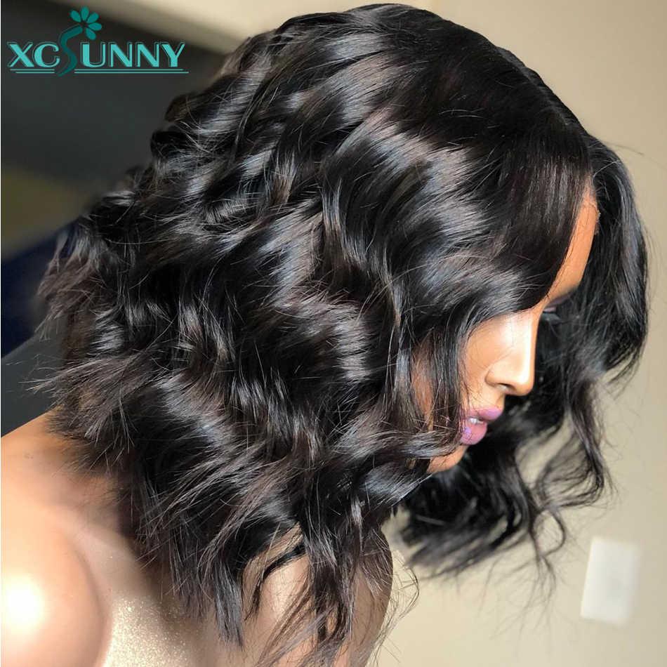 Głęboka fala peruka z krótkim bobem 5x5 Silk Scalp górna peruka 13x6 koronki przodu peruki z ludzkich włosów wstępnie oskubane zamknięcie peruka Remy brazylijski xcsunny