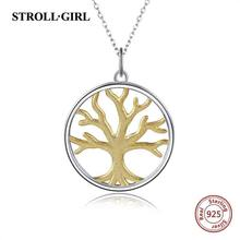 Strollgirl New Trendy 925 Sterling silver Tree of Life pingente colar de corrente cor de Ouro para As Mulheres 2019 moda Jóias Presentes(China)