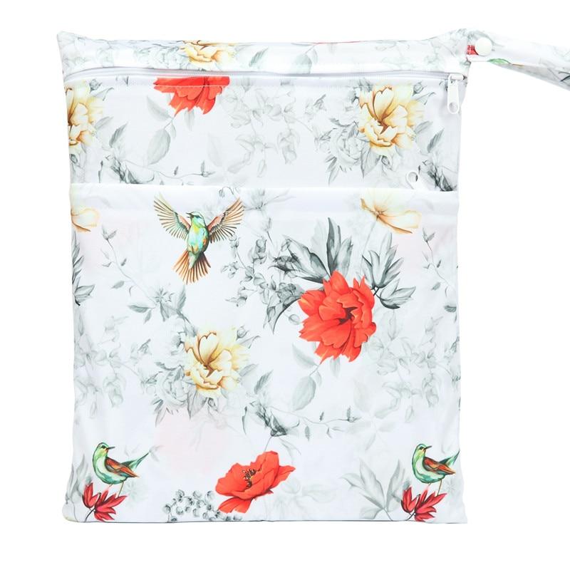 [Sigzagor] 1 Влажная сухая сумка с двумя молниями для детских подгузников, водонепроницаемая сумка для подгузников, розничная и, 36 см x 29 см, на выбор 1000 - Цвет: WH71