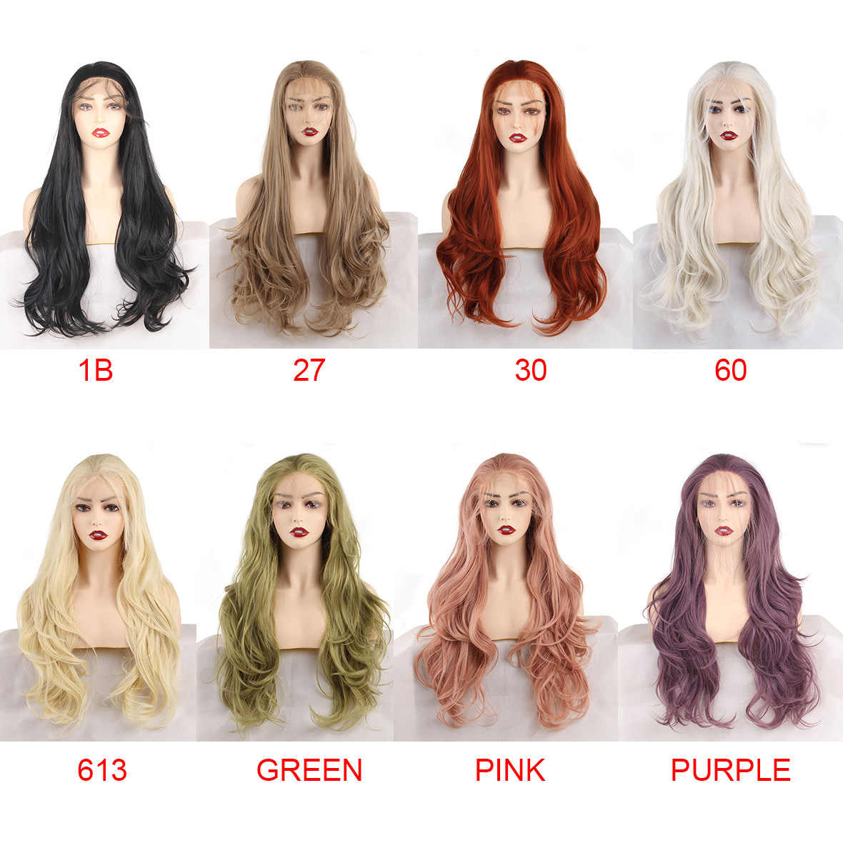 Leeven 24'' Pink Orange Purple Lace Front Wig Copper Red Long Wavy Synthetic Wigs With Baby Hair 613 Blonde Ginger wig